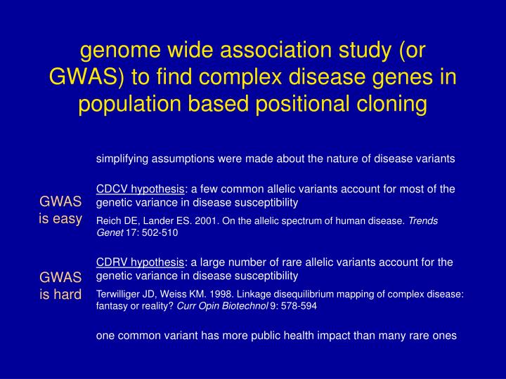 genome wide association study (or GWAS) to find complex disease genes in population based positional cloning