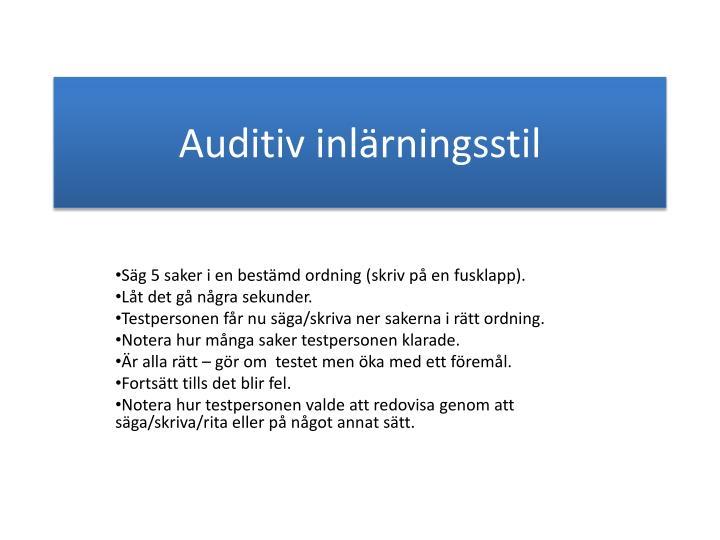 Auditiv inlärningsstil