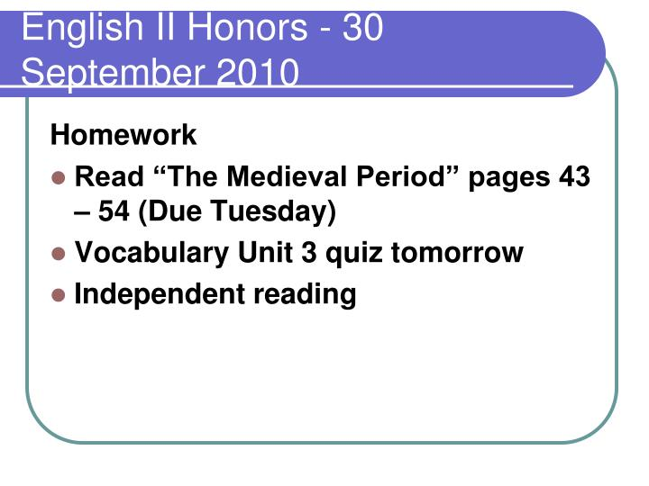 english ii honors 30 september 2010 n.