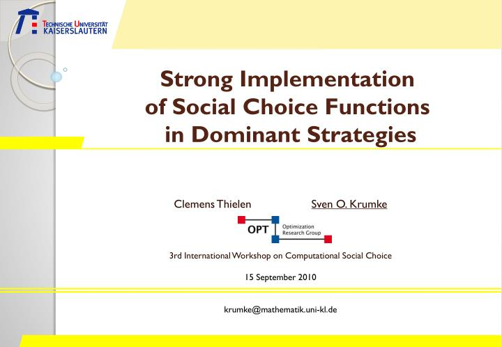 strong implementation of social choice functions in dominant strategies n.