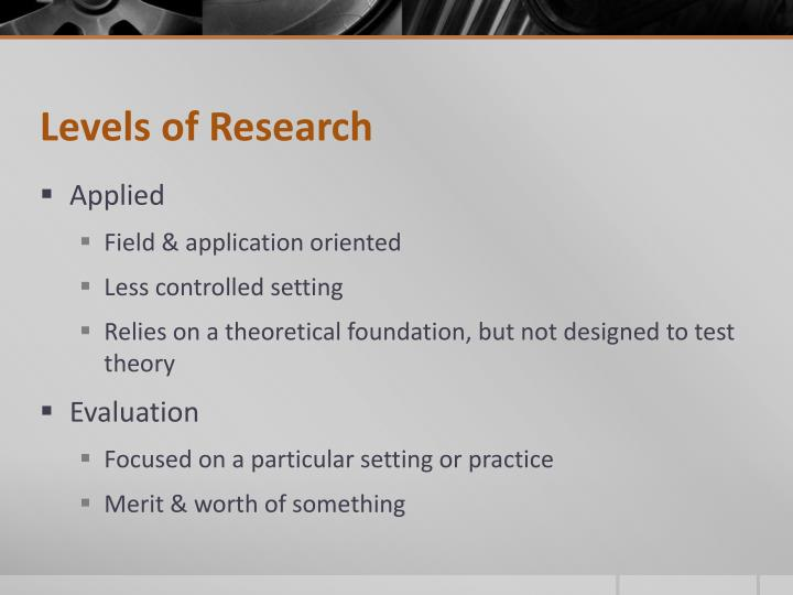 Levels of Research