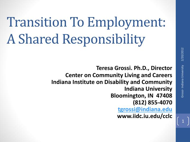 transition to employment a shared responsibility n.