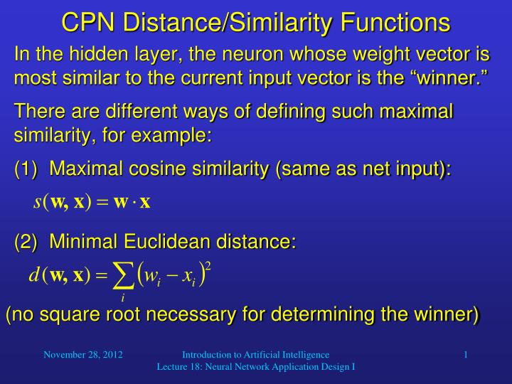 cpn distance similarity functions n.