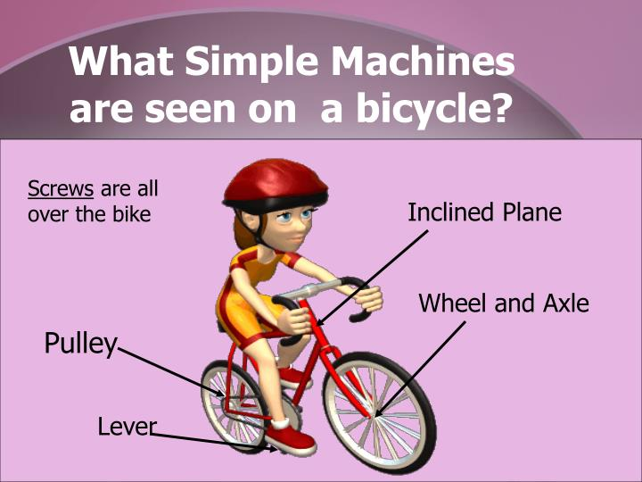 an analysis of the bicycle as a remarkably simple and satisfying machine The crank is a simple machine which is basically a lever to turn the big gear and axle to connect the pedal the derailleurs have levers and are powered by leveraged there are also bearings and lubrication to facilitate the work of the levers in the handle bars (headset) and crank (bottom bracket.