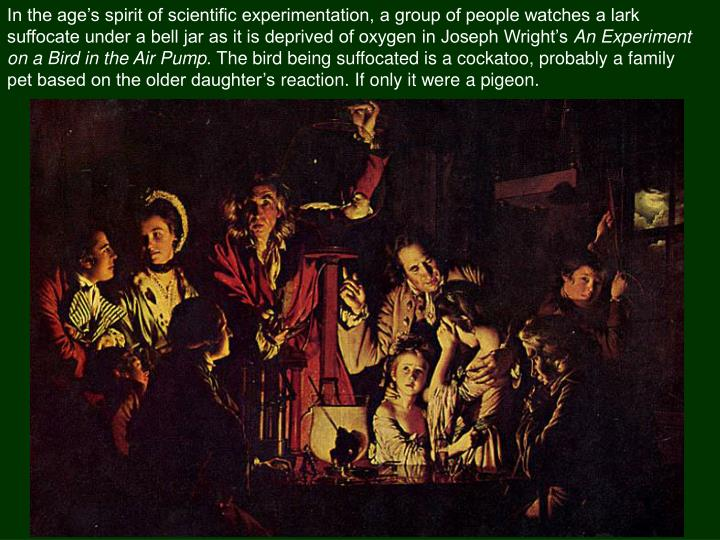 In the age's spirit of scientific experimentation, a group of people watches a lark suffocate under a bell jar as it is deprived of oxygen in Joseph Wright's