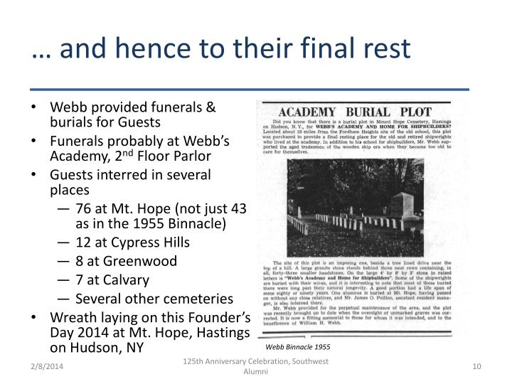 … and hence to their final rest