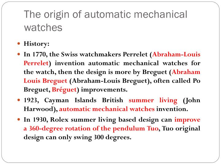 The origin of automatic mechanical watches