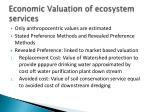 economic valuation of ecosystem services