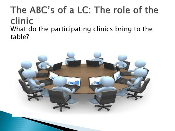 The ABC's of a LC: The role of the clinic