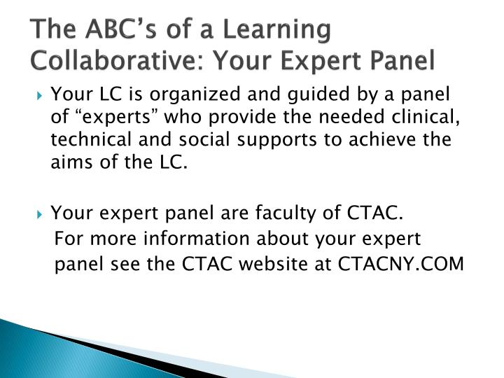 The ABC's of a Learning Collaborative: Your Expert Panel