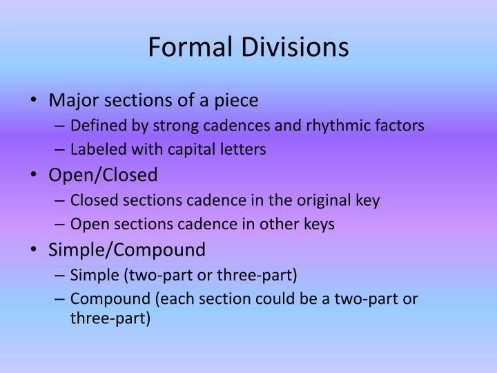 Formal divisions