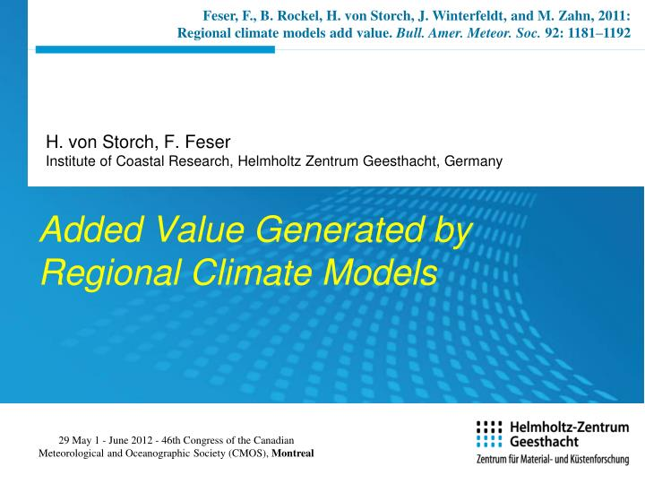 added value generated by regional climate models n.