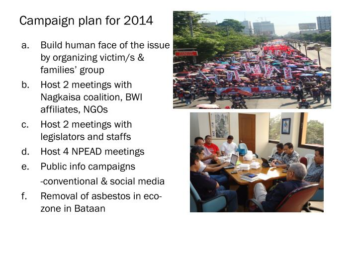 Campaign plan for 2014