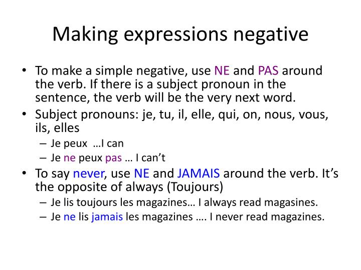 making expressions negative n.