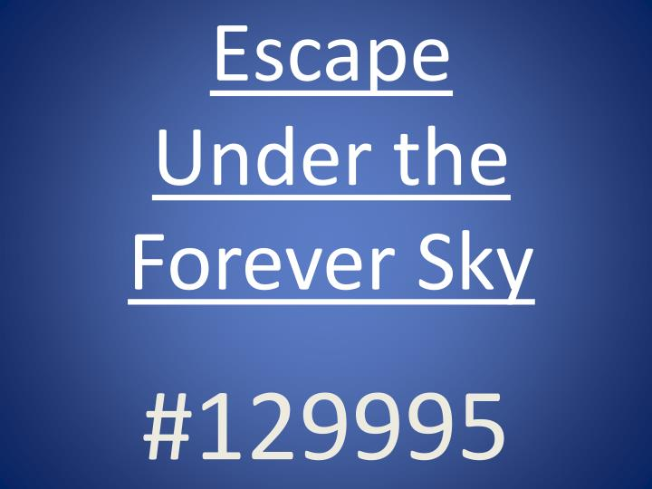 escape under the forever sky n.