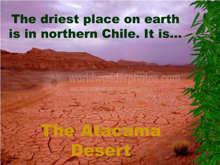 The driest place on earth is in northern Chile. It is…