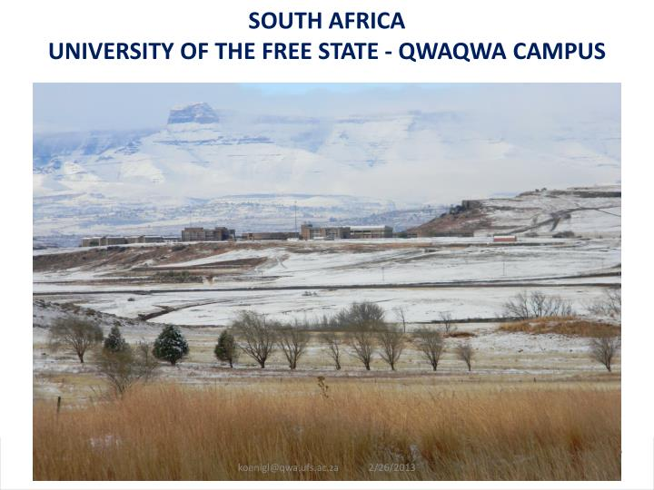 south africa university of the free state qwaqwa campus n.