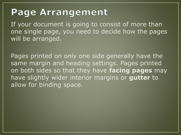 Page Arrangement