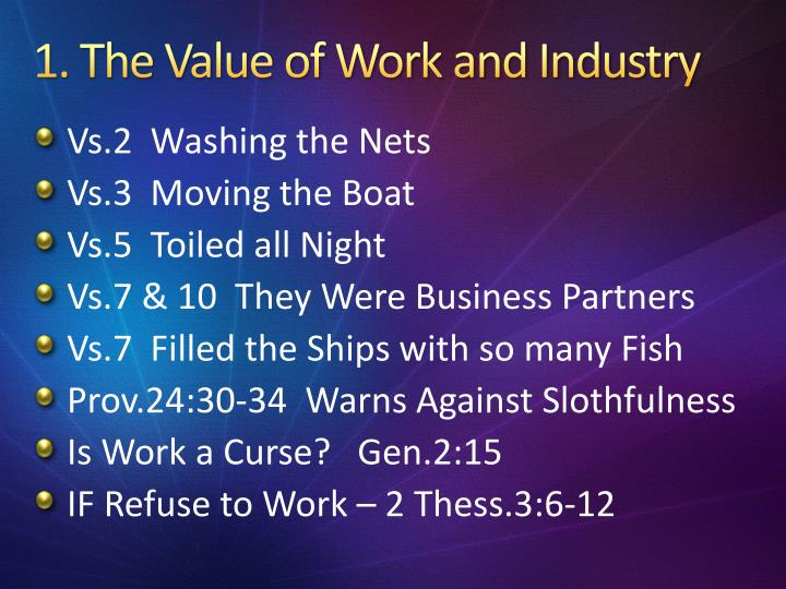 1 the value of work and industry