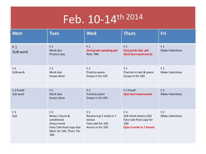 Feb 10 14 th 2014