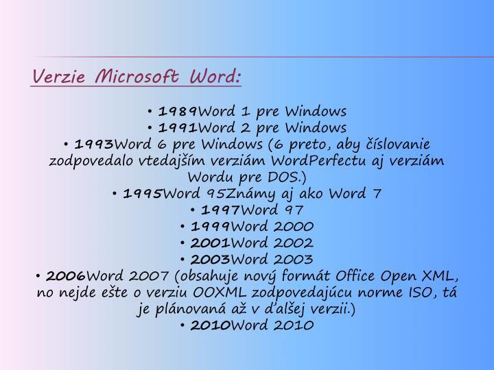 Verzie Microsoft Word: