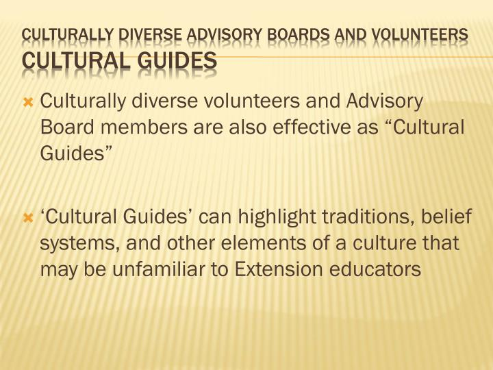 Culturally diverse volunteers and Advisory
