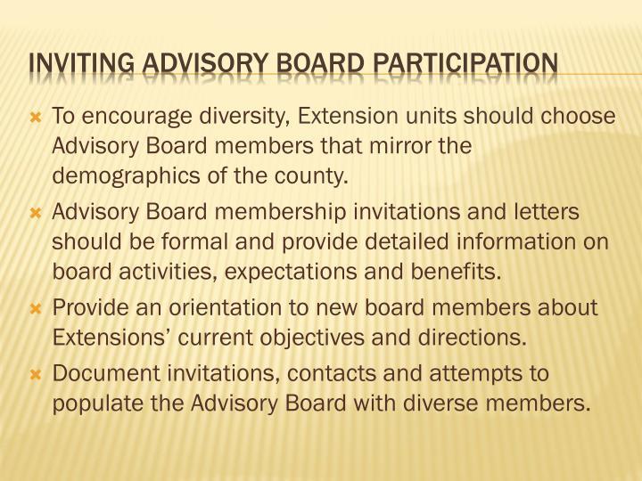 Inviting advisory board participation