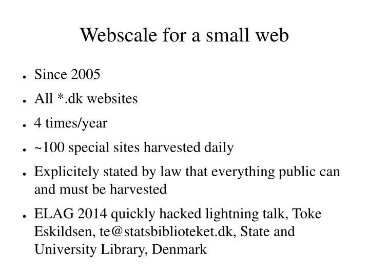 webscale for a small web