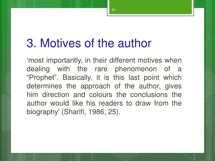 3. Motives of the author