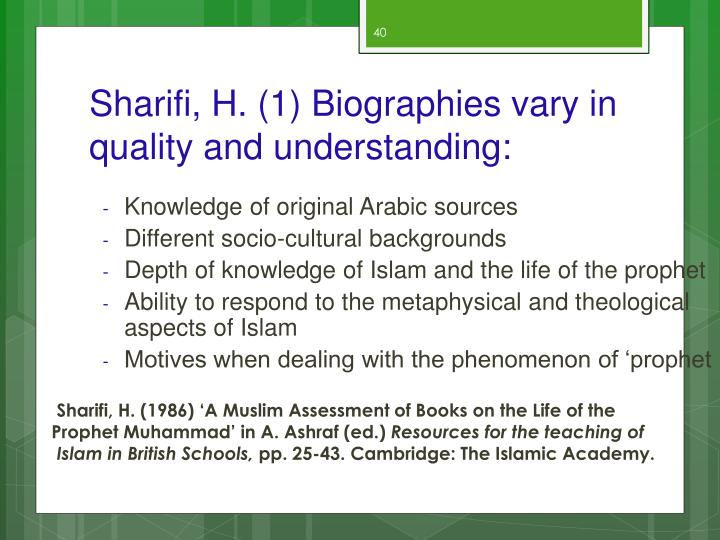 Sharifi, H. (1) Biographies vary in quality and understanding: