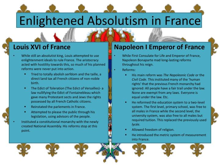 an analysis of enlightened despotism in the rule of napoleon bonaparte If we define a enlightened despot as a ruler who has absolute power, but also  rules with the ideas of the enlightenment, then napoleon was enlightened  if i  remember correctly, we decided as a class that joseph ii of austria.