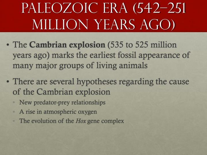 Paleozoic Era (542–251 Million Years Ago)