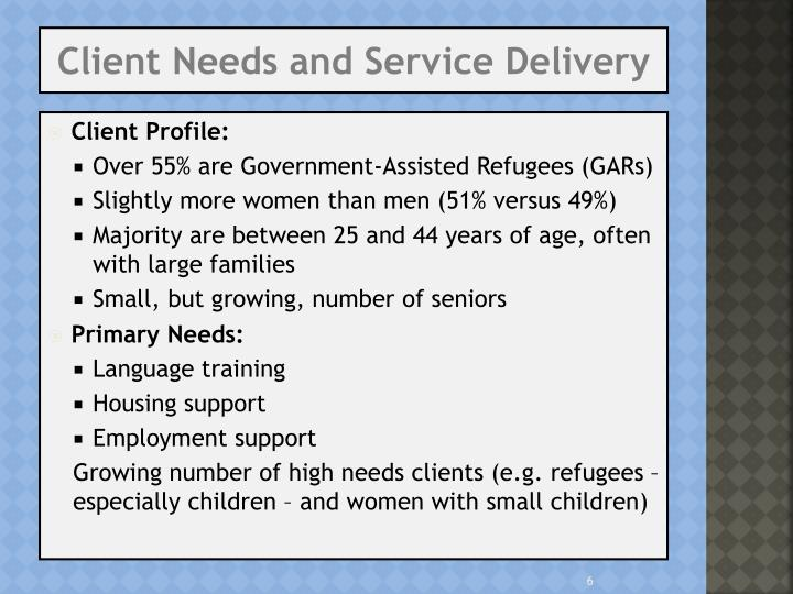 Client Needs and Service Delivery