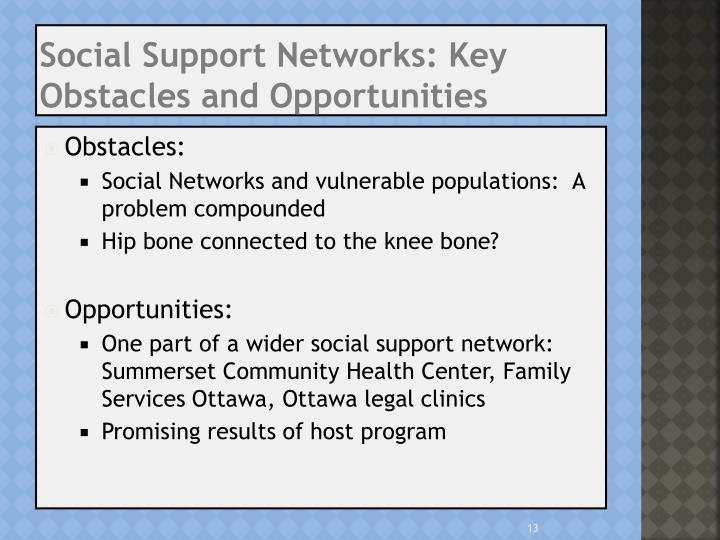 Social Support Networks: Key Obstacles and Opportunities