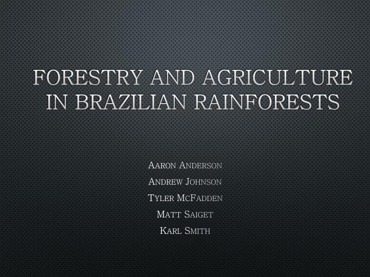 forestry and agriculture in brazilian rainforests