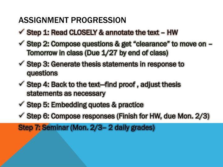Assignment Progression