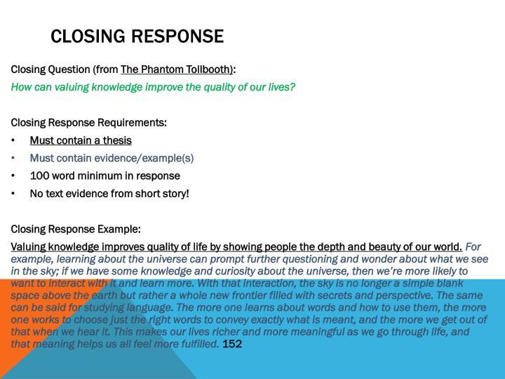 Closing response