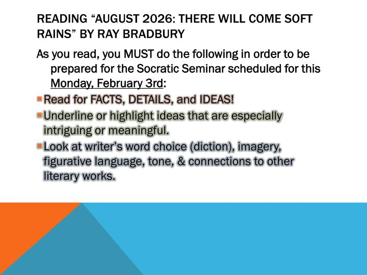Reading august 2026 there will come soft rains by ray bradbury