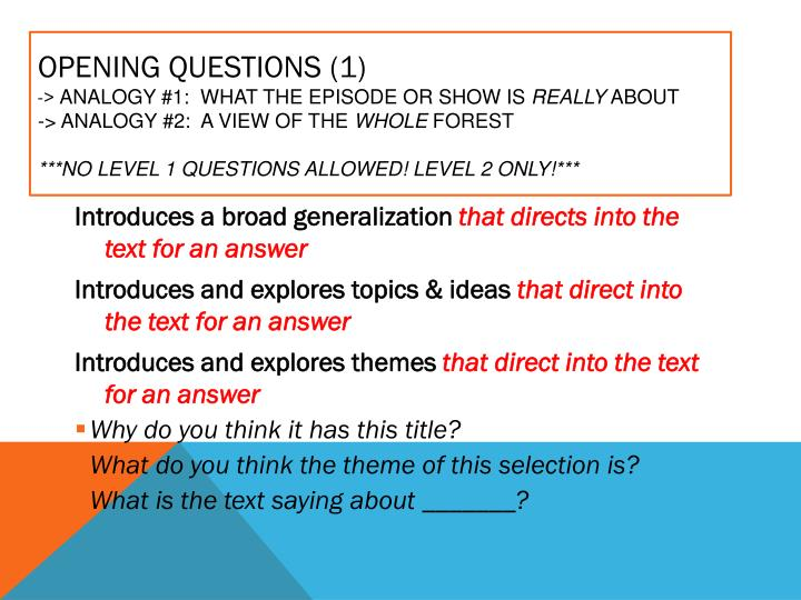 Opening Questions (1)