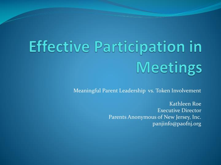effective participation in meetings n.