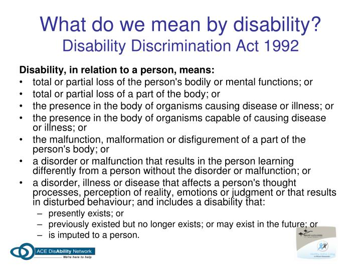disability discrimination act 1992 A national competition policy review of the disability discrimination act 1992.