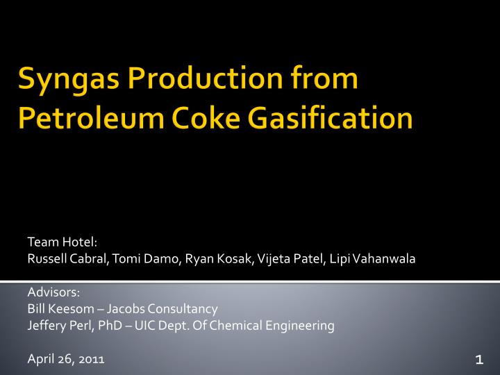 syngas production from petroleum coke gasification n.