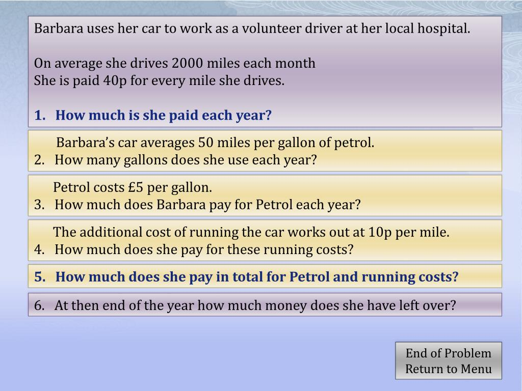PPT - Calculating with Money Cost of Running a Car