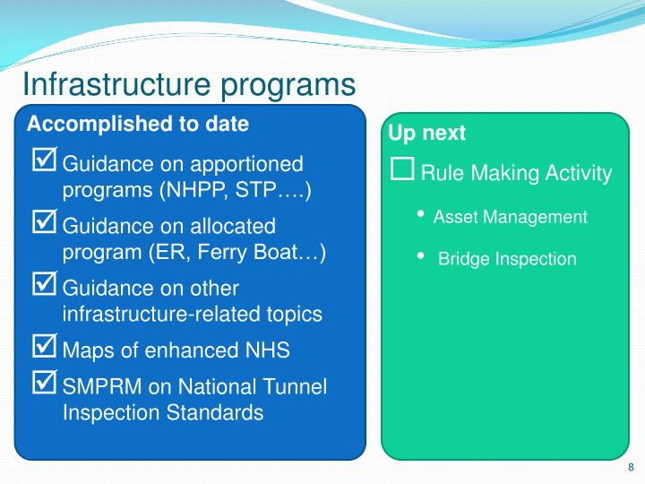 Infrastructure programs