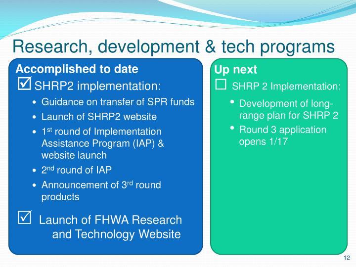 Research, development & tech programs