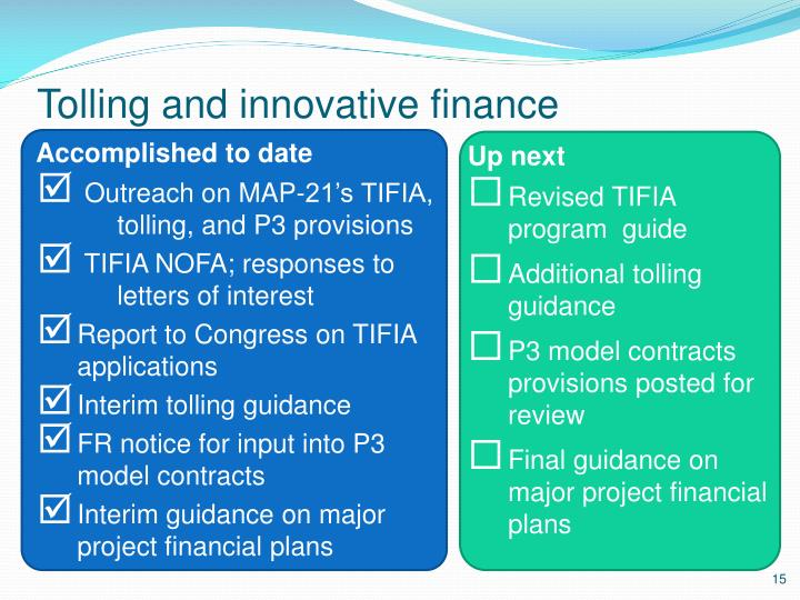 Tolling and innovative finance