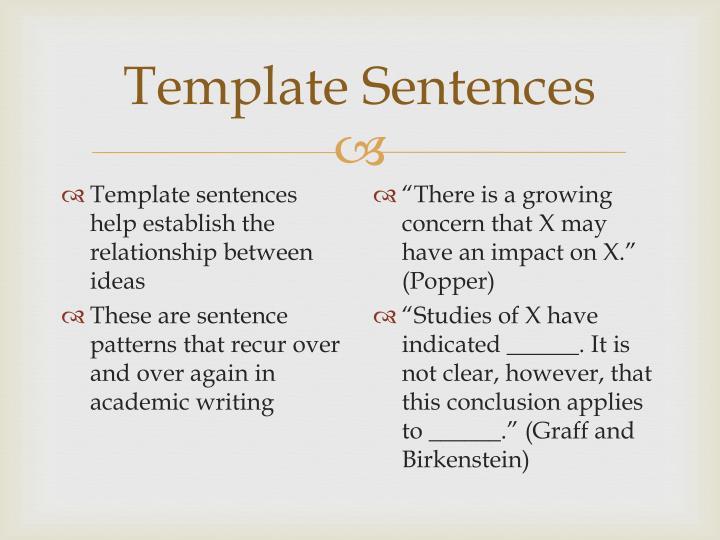 Template Sentences