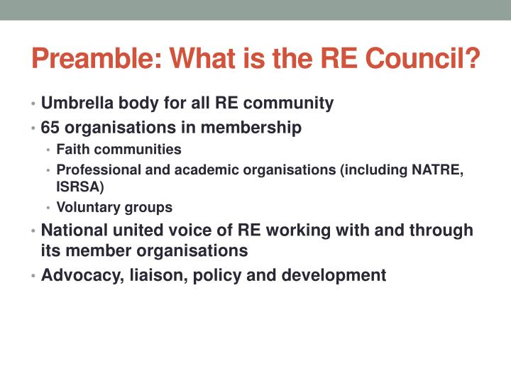 Preamble what is the re council