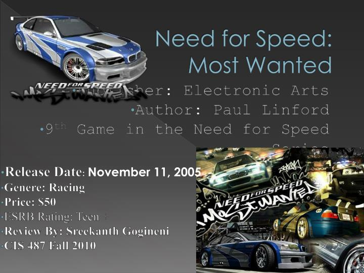 Ppt Need For Speed Most Wanted Powerpoint Presentation Free Download Id 2150628