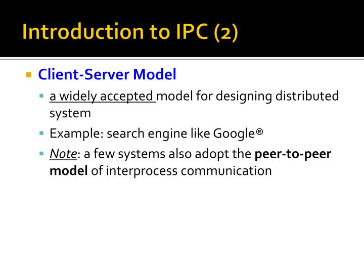 Introduction to ipc 2